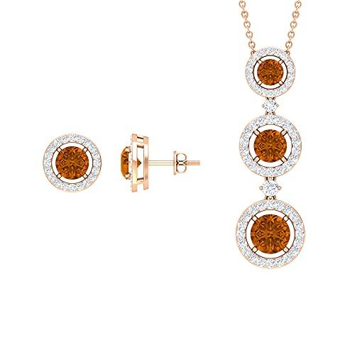 Rosec Jewels 18 quilates oro rosa redonda Orange Turmalina naranja creada en laboratorio Diamond