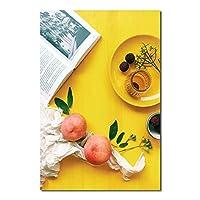 キャンバス絵画モダンイエローテーマ栄養朝食シーンアートポスターとプリント壁アート写真部屋の家の装飾30x40cmフレームレス