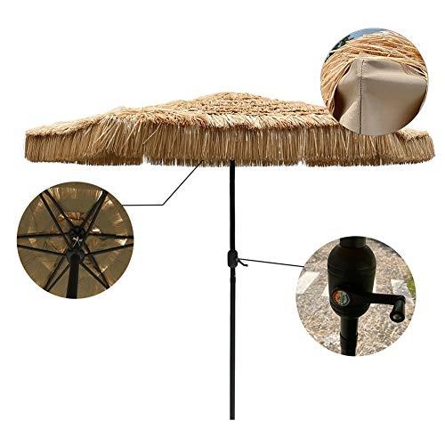 ZLI Ombrellone da Esterno Ombrellone da Esterno 2.7m/9ft, Ombrellone da Spiaggia in Paglia Imitazione Giardino/Balcone, con Manovella e 8 Costole Robuste (Size : 270×230cm(8.8×7.5ft))