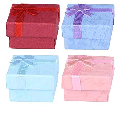 Lekind - 24 cajas de regalo con lazo para joyas, estuche de almacenamiento, organizador para pendientes, collares, pulseras, anillos (rosa/púrpura/rojo/azul cielo)