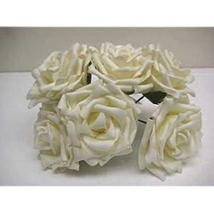 Phoenix Silk 6 Stems Open Rose Foam Artificial Flowers 741