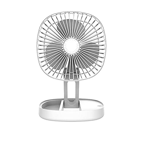 QYYL Portatil Mini Ventilador Silencioso, Ventilador de Escritorio con Cable USB, 3 Modo de Velocidad 185°Ajustable, para Oficina/Hogar/Viajar/Acampar (White/A)
