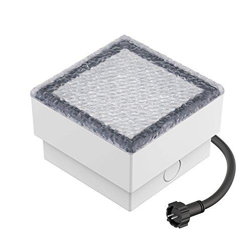 ledscom.de LED Pflaster-Stein Gorgon Boden-Einbauleuchte für außen, 10x10cm, 12V, warm-weiß
