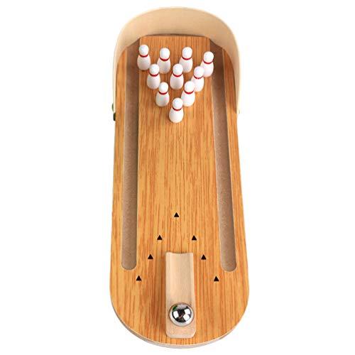 TOYANDONA Mini Jeu de Bowling Table Bois Bowling Bureau Boule Conseil Jouet Jouet Éducatif Interactif pour La Maison Bar École Jouets Parent-Enfant (Brun)