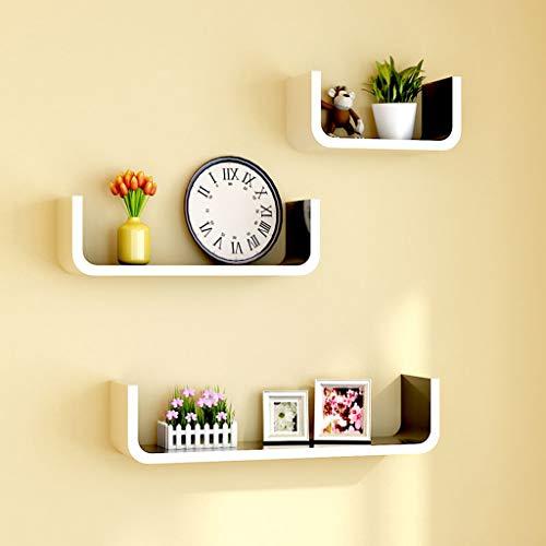 RSWLY Estante de almacenamiento para colgar en la pared de la sala de estar, estantería creativa, fondo de TV, marco de decoración de la pared (color: interior negro)