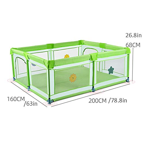 Vitila 38 sq ft Green Activity Centre Baby with Breathable Mesh,4 Panel Baby Playnest for Toddlers Indoor And Outdoor