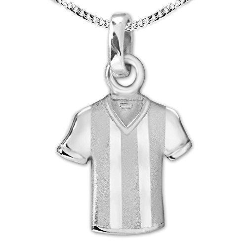 CLEVER SCHMUCK Set inklusive Gravur: Silberner Anhänger Fußball Trikot teilmatt & Kette Sterling Silber 925
