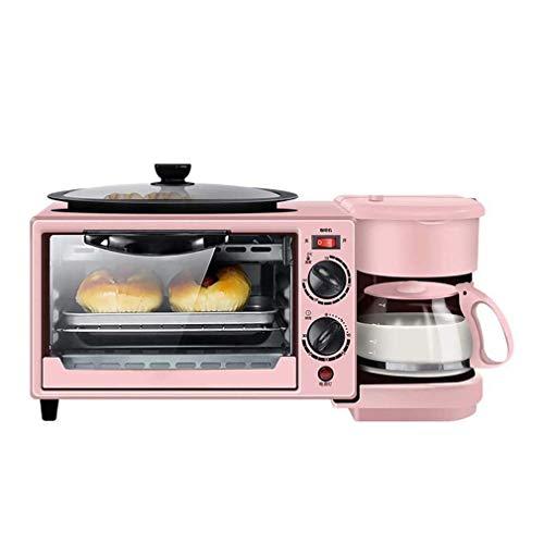 PIVFEDQX 3-in-1 Frühstücksstation Maker, Center Multifunktions-Kaffeemaschine der Retro-Familie mit Wasserkocher Elektro Toaster Maschine Edelstahl 9L Ofen mit Timing 30Min, Pink