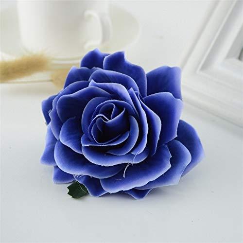 Flores artificiales para el hogar, 10 unidades, rosas de seda, para boda, coche, sala de estar, decoración artesanal, color azul marino