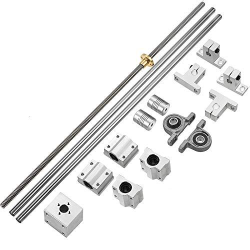 2PCS 300mm Linear Motion Rod Shaft Guide & (300mm)8mm Lead Screw & 4PCS SK8 Shaft Support & 4PCS SCS8UU Bearings & 2PCS KP08 & 2PCS Flexible Shaft Couplings
