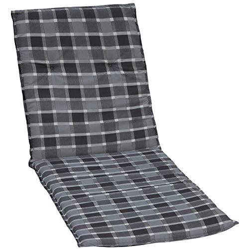 beo Gartenstuhlauflagen Saumauflage für Rolliegen Karo, circa 190 x 58 x 6 cm, grau/schwarz/mehrfarbig