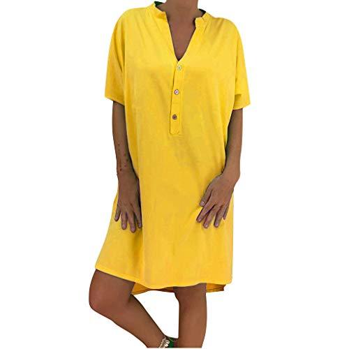 Lialbert Vestido de camiseta para mujer, cuello en V, con mangas, corte en A, falda de patinador, para tiempo...