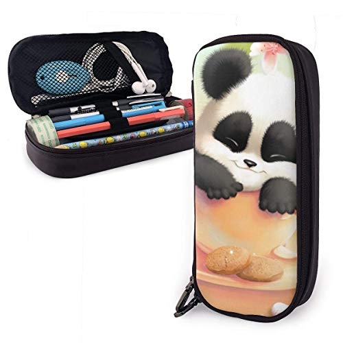 Lawenp Cute Panda Flower Pencil Case,Large Capacity Pencil Bag with Durable Zipper Students Stationery Pen Bag for Pens and Other School Supplies