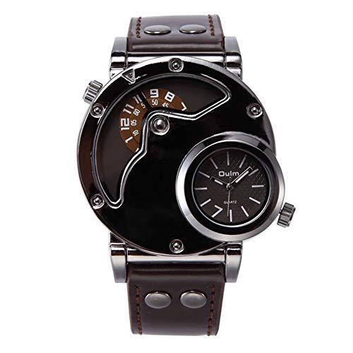 Oulm HP-9591 - Reloj deportivo de cuarzo, multifunción, doble zona horaria, color café