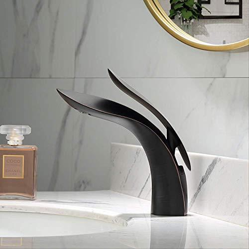 Europeo All Copper Creative Negro,Grifo de Lavabo Cascada Grifo para Baño Monomando Grifería Cromado Plateado con de Agua Inoxidable Larga Durabilidad