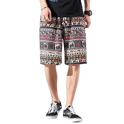 BEESCLOVER Herren Strand-Shorts für den Sommer, Fünfte Hose, Ethno-Stil, Elefanten-Druck, Taschen, leger, locker, Übergröße M-5XL, schön und schön Gr. Medium, K3512