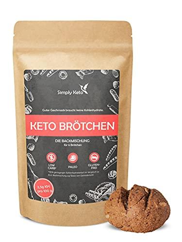 Simply Keto Brötchen Backmischung (340g) - Ergibt 6 x 140g Brötchen ohne Zucker - Nur 2,5g KH pro Brötchen - Geeignet für Low Carb, Paleo & ketogene Ernährung - Glutenfrei & Lactosefrei