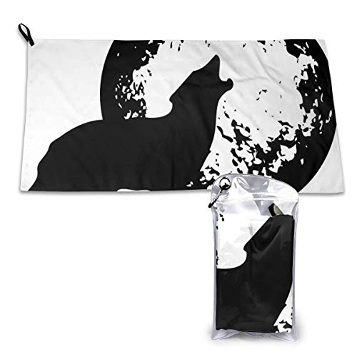 QYMYNAME Moon Wolf Clipart Pattern Sports & Travel Towel-32 x16-Lightweight, Compact, Fast Drying, Absorbent, Sand Free, Towel for Travel, Beach, Swim, Pool, Hike, Camp+Travel Bag&Carabiner