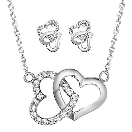 Gcroet Cadenas Collar galas y Pendientes establecidas Rhinestone Corazones entrelazados y Plateado Conjunto de Joyas para Mujeres de la Muchacha (Plata) 1set