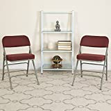 Flash Furniture 2 Pack HERCULES Series Premium Curved Triple Braced & Double Hinged Burgundy Fabric Metal Folding Chair