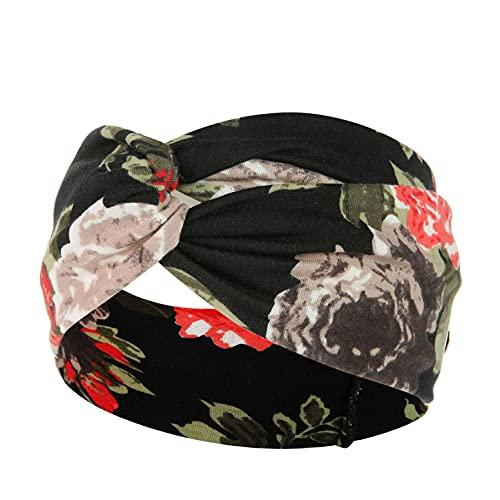 ROKTUD Headbands for Women Boho Wide Headbands Leopard Stretch Knotted Head Wraps Floral Elastic Yaga Hair Bands Running Sports Non-Slip Sweat Headband