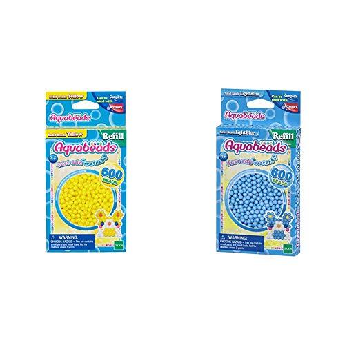 Aquabeads 32528 Perlen Bastelperlen nachfüllen gelb & 32558 Perlen Bastelperlen nachfüllen hellblau