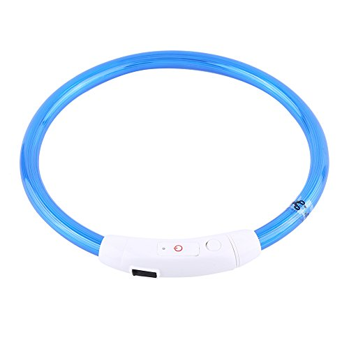 TAKE FANS 50cm recargable llevó el tubo que destella de la seguridad del perro del animal doméstico del collar Suministros para mascotas con USB (azul)