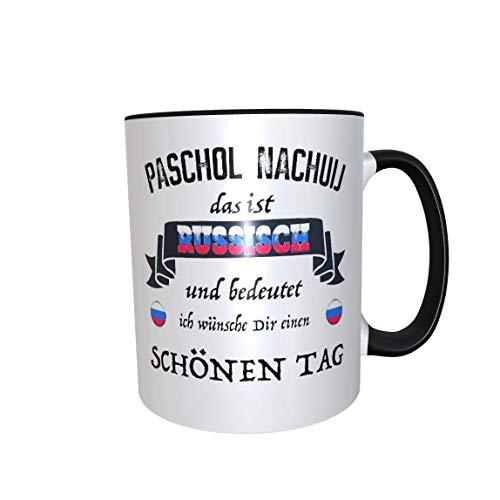 Paschol Nachuij Tassenset 2x Kaffeetasse Satire frech Russland Geschenk (schwarz)