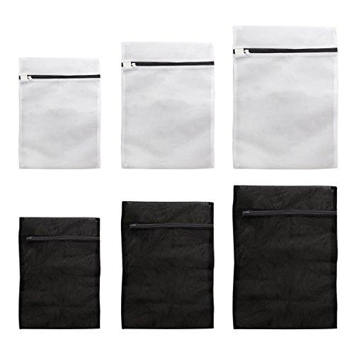 ounona Sacs à linge 6pcs Mesh Trousse de toilette Garment Bag delicates Trousse de toilette (Noir et Blanc)