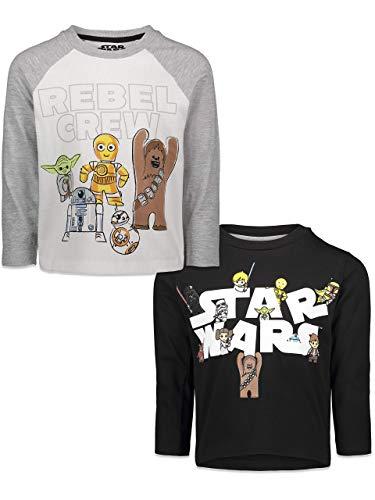 STAR WARS Little Boys 2 Pack Long Sleeve Graphic T-Shirt 6 Black/Gray