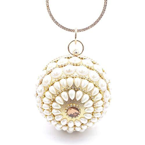 TcooLPE Diamant Metall Tasche kugelförmige Handtasche Abendtasche Damen können Diagonale Kleid Abendkleid Nachtclub Party Jahrestagung hochwertige Abendgarderobe (Color : B)