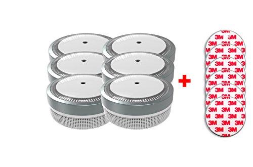 Jeising Mini Rauchmelder RWM100-Grau 6er Set mit Klebepad 3M Premium selbstklebend - 10 Jahres Batterie - VDs