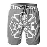 Pantalones Cortos de natación para Hombres Departamento de Bomberos Ropa de Playa Deportes...