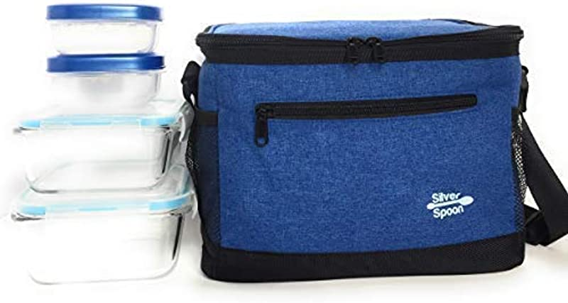 Lunch Box Office Lunch Bag With Shoulder Strap Insulated Leak Proof Lunch Container Sturdy Zipper Lunch Box For Women With Storage Lunch Box For Men Blue Grey Lunch Box Office School Or Work