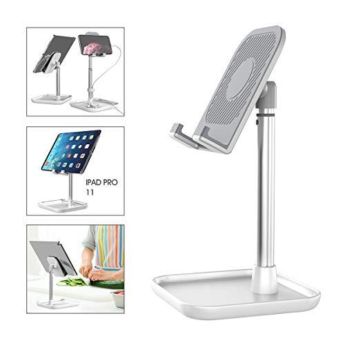 Licheers Handy Ständer, verstellbare Tisch Handy Halterung, Winkel Höhe einstellbar Aluminium Tablet Halter kompatibel mit Smartphone und weitere 4-11 Zoll Geräte (Silber)