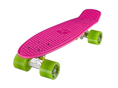 Ridge Skateboards 22 Mini Cruiser Skateboard, Rosa/Verde