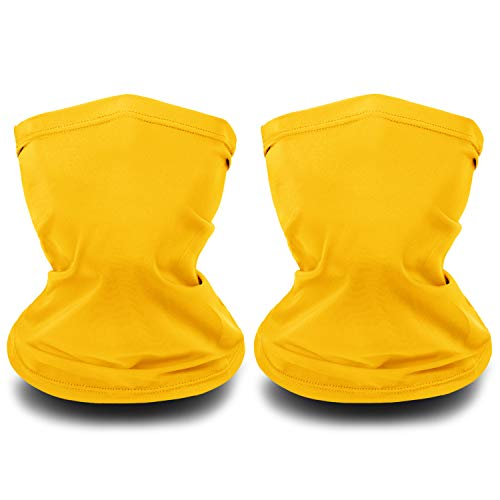 Kids Neck Gaiter Summer Cooling Face Neck Cover Bandana Sun Protection Face Scarf Balaclava Headband Headwear for Boys and Girls, Multi Colors (Warm Yellow, 2)