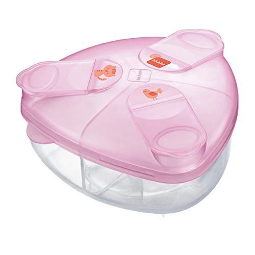 MAM Milk Powder Box, Formula Milk Powder Dispenser Stores 40 g Per Serving, Milk Powder Storage Holds Three Servings, Baby Milk Powder Box, Pink, (Designs May Vary)