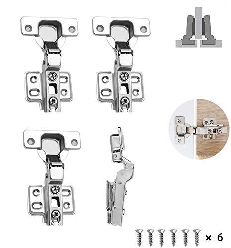 Semi Solapado Bisagras Automática,Bisagra de puerta bisagra de armario de cocina,para Puerta de Empotrado Mueble Armario de Coci Juego (4 piezas)