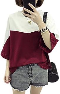 GuDeKe夏 レディース ゆったり 七分袖 Tシャツ カジュアル無地 原宿 BF風 通学 大きいサイズ 七分袖 カットソー