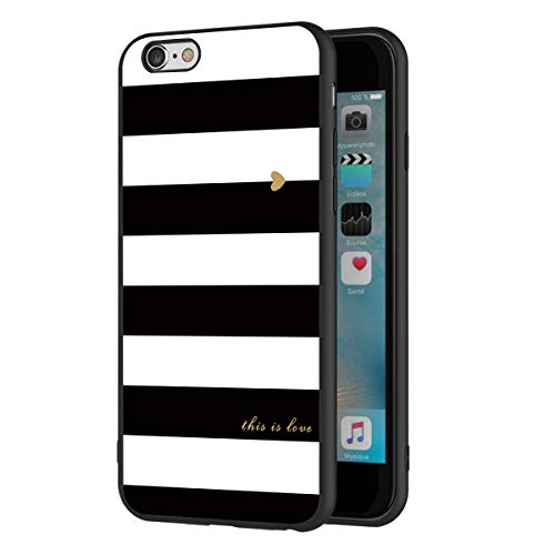 ZhuoFan Funda iPhone 6s Plus, iPhone 6 Plus Cárcasa Silicona Ultrafina Negra con Dibujos Diseño TPU Antigolpes de Protector Piel Case Cover Bumper Fundas para Movil Apple 6sPlus / 6Plus, Rayas Negro