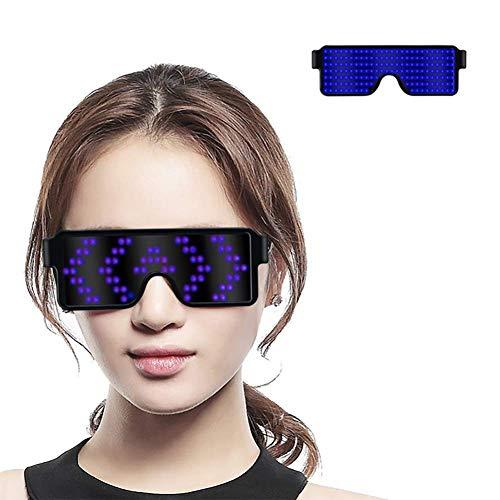 Gafas LED Dinámicas Gafas Luminosos USB Recargable, Gafas para Fiestas Decoración Gafas LED Lentes (Azul)