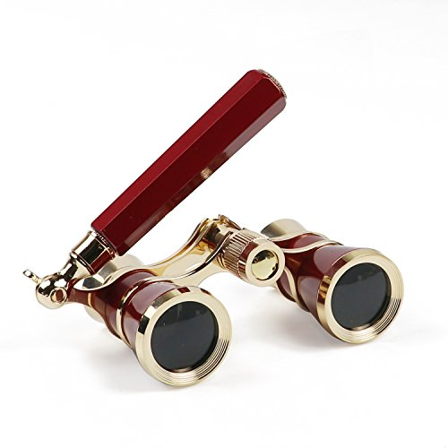 Kingscope 3X25 Vintage Opera Glasses Binoculars for Theater Musical Concert (Lorgnette, Red, with Handle)