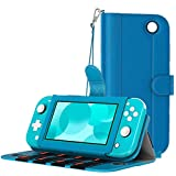 MoKo Funda Compatible con Nintendo Switch Lite, Cubierta Protectora de PU con 8 Puertos para Cartucho de Juego, Ranura de Tarjeta, Manija y Cordón de Mano para Nintendo Switch Lite 2019 - Turquesa