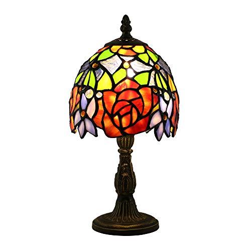 Tokira Tiffany-Stil Tischlampe 6 Zoll, Vintage Glasmalerei Mini Nachtlicht, Rote Rose Blume Nacht Schlafzimmer Schreibtischlampen für Wohnzimmer LED-Lampe