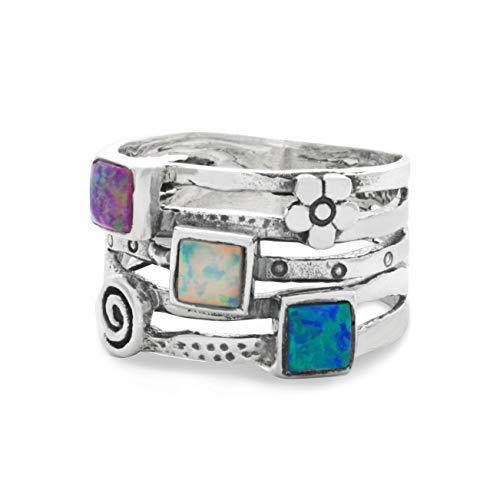 Banyan Jewellery - Anello da donna in argento Sterling 925 con opalite blu, bianco e rosa e Argento, 54 (17.2), colore: Blue, Green, Purple, Pink, White, cod. Ri0185