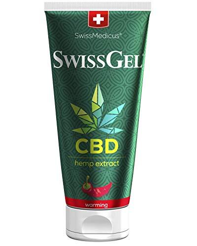SwissMedicus - SwissGel - Pferdebalsam mit CBD - wärmend Kräuterbalsam mit dem Wirkstoff Cannabidiol - Massage gel - wärmend - zur Behandlung der Gelenke - des Rückens und der Muskeln - 200 ml