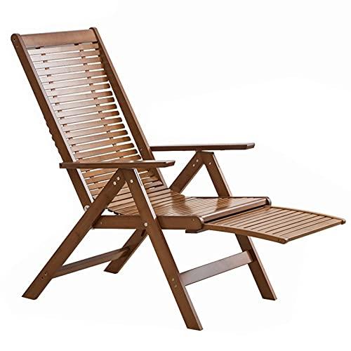 CCLLA Holzliegestühle im Freien, Terrassenklappstühle, 6-Gang Verstellbarer Liegestuhl mit Rückenlehne, versenkbarer Fußschemel für Sonnenstühle, natürliche Bambusbänke für Schwimmbäder/Veranden
