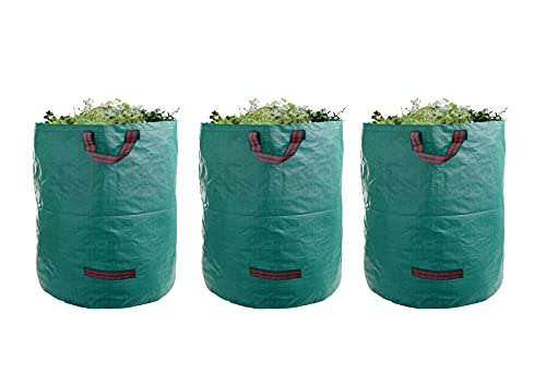UWELD 3-Pack 72 Gallons Reusable Garden Waste Bags(H30,D26 inches)- Heavy Duty Leaf Bags, Lawn reusable Bags,Yard Trash Bags,Yard Waste Bags with handles