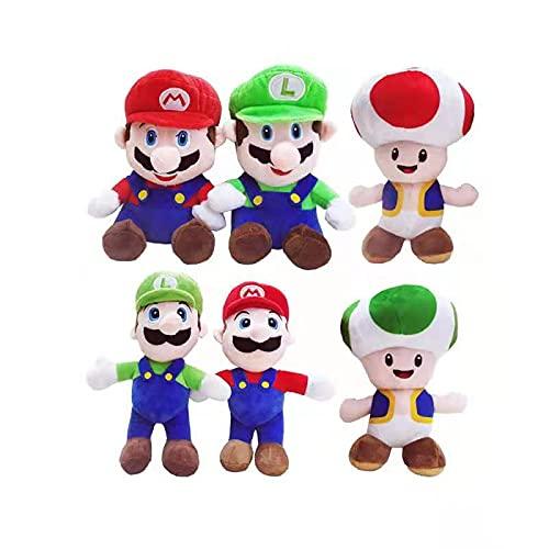fdger 6 Unids / Set Super Mari Bros Rojo Azul Mario / Toad / Luigi Juguetes De Peluche Juegos De Peluche...